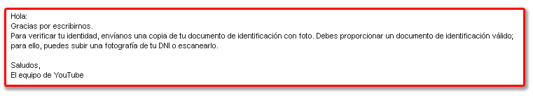 Mensaje de YouTube pidiendo documentacion valida
