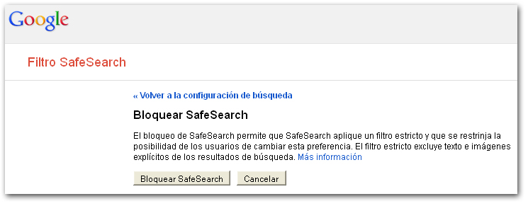 SafeSearch confirmación
