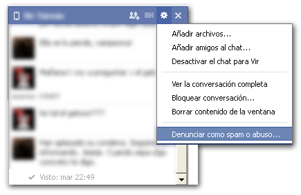 Denunciar chat de Facebook