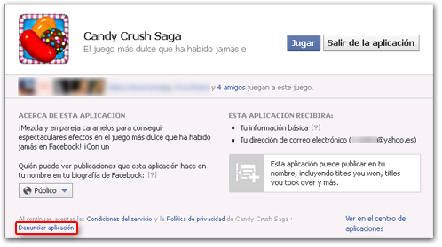 Aplicacion Facebook Candy Crush Saga Denunciar