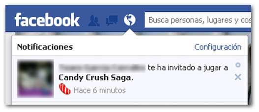 Aplicacion Facebook Candy Crush Saga Notificacion